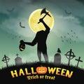 Halloween silhouette headless monster in graveyard