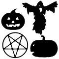 Halloween silhouette illustrations of a ghost pentagram and pumpkin lanterns for Stock Image