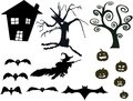 Halloween silhouette set the vector isolated on white Stock Photo