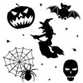 Halloween silhouette set on white background Royalty Free Stock Photo