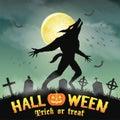 Halloween silhouette werewolf in a night graveyard