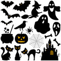 Halloween silhouettes elements collection of silhouette for isolated on white background bats witch ghosts pumpkin black cats Royalty Free Stock Photos