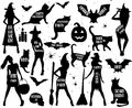 Halloween Silhouettes. Witch, pumpkin, black cat.Halloween party. Spider sticker. Trick or treat. Royalty Free Stock Photo