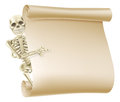 Halloween skeleton scroll an illustration creepy peeping round a banner and showing what is written on it Royalty Free Stock Images