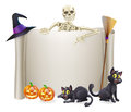 Halloween skeleton scroll a sign with a character above the banner and pumpkins and witch s cats hat and broomstick Royalty Free Stock Photography