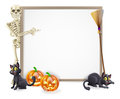 Halloween skeleton sign or banner with orange pumpkins and black witch s cats witch s broom stick and cartoon character Stock Image