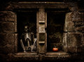 Halloween skeleton sitting in a graveyard alcove Royalty Free Stock Photos