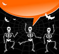 Halloween skeletons with spiderweb and bubble Stock Photography