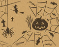 Halloween sketch design vector set on retro grunge paper Royalty Free Stock Photo