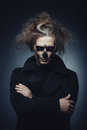 Halloween skull portrait of man with makeup Stock Photo