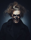 Halloween skull portrait of man with makeup Stock Images