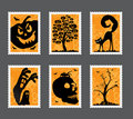 Halloween stamp set Royalty Free Stock Photo