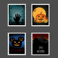 Halloween stamps set of four postal on grey background Stock Image