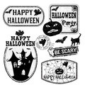 Halloween stamps set of isolated grunge on white background vector illustration Royalty Free Stock Image