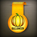 Halloween sticker on black yellow pumpkin vector illustration Stock Photos