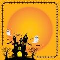 stock image of  Halloween sticker element silhouette castle orange background.