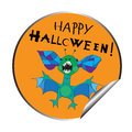 Halloween sticker illustration of with a funny alien bat cartoon isolated on white Stock Photography