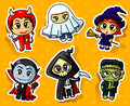 Halloween stickers cute set with chibi characters Royalty Free Stock Images