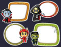 Halloween stickers set with chibi characters Royalty Free Stock Images