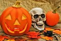 Halloween still life and autumn décor with skull and jack o lantern Royalty Free Stock Photography