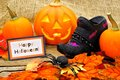 Halloween still life happy tag with and autumn decor Royalty Free Stock Photo