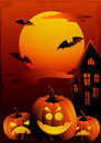 Halloween sunset  illustration Royalty Free Stock Images