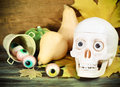 Halloween sweets and pumpkins creepy skull for party Royalty Free Stock Photography