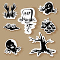 Halloween symbols clip art vector set Royalty Free Stock Photo