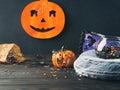 Halloween symbols on dark background Royalty Free Stock Photo