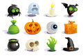 Halloween symbols funny collection Stock Photos