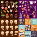 Halloween Night creepy symbols icons vector collection illustration