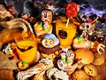 Halloween table with trick or treat and cake Royalty Free Stock Photo