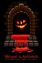 Halloween terrible door bloody entrance Stock Image