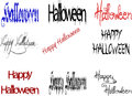 Halloween text happy and written in different colors and shades of color blue black and red and also a variety of styles Stock Photography
