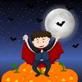 Halloween theme with boy in vampire costume Royalty Free Stock Photo