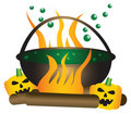 Halloween theme of a bubbling witch cauldron. Royalty Free Stock Photo