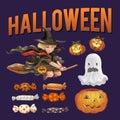 Halloween themed vector illustration set Royalty Free Stock Photo