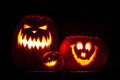 Halloween three jack o lanterns as decoration Royalty Free Stock Photography