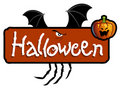 Halloween titling - bat wings and spider's claws Stock Photos