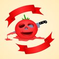 Halloween tomato and pierce with a knife dripping with juice Royalty Free Stock Image