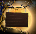 Halloween Tree Sign Background Royalty Free Stock Photo