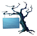 Halloween tree sign an illustration of a bare spooky scary with a suspended hanging from a chain on it Stock Photos