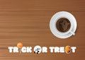 Halloween - Trick or treat, cup of coffee Royalty Free Stock Photo