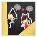 Halloween trick or treat girl and boy hide behind piece of paper say on pumpkin background Royalty Free Stock Image