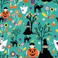 Halloween trick or treat green patter