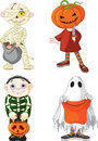 Halloween trick or treating children Royalty Free Stock Images