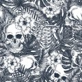 Halloween tropical vintage seamless pattern. Creppy jungle skull background. Floral anatomy Royalty Free Stock Photo