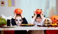 Halloween twins photo of twin eerie boys holding pumpkins over their heads and looking at camera Stock Image
