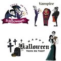 Halloween vampire in coffin, Draculas monster in cloak flat vector illustrations, good for goth party invitation or Royalty Free Stock Photo
