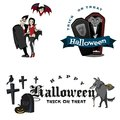 Halloween vampire in coffin, Draculas monster in cloak flat vector illustrations, good for party invitation or flyer Royalty Free Stock Photo